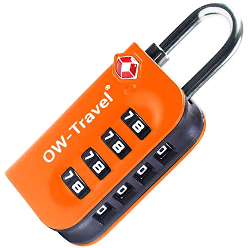 OW-Travel Luggage Locks TSA Approved (1 Pack) 4 Digit Suitcase Locks TSA Approved Security Backpack Padlock Suitcase, Case Locks, Suitcase Combination Lock, Bag Padlock, Gym Locker Padlocks (Orange)