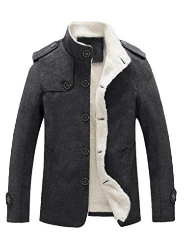 Men's Trenchcoat Double Breasted Overcoat Pea Coat Classic Wool Blend Slim Fit (Large, Black)