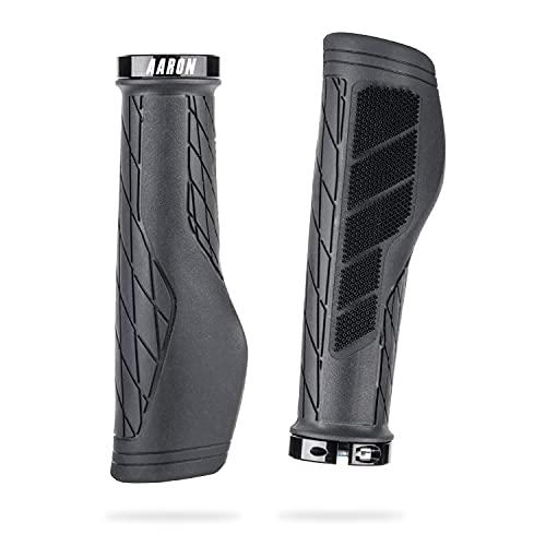 AARON FIT - Puños de Gel con amortiguación - Diseño Deportivo Antideslizante con Extremo atornillable - para bicis eléctricas, de Trekking, de montaña, de piñón Fijo y ciclocrós - Negro