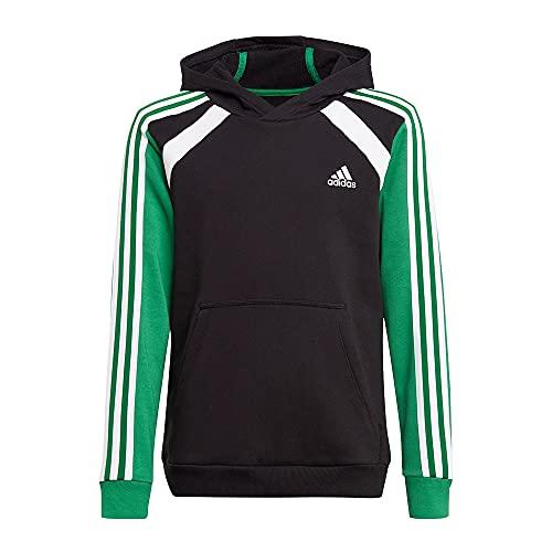 adidas B Bold HD, Sudadera con Capucha Niños, Black/Core Green/White, 13 Anni