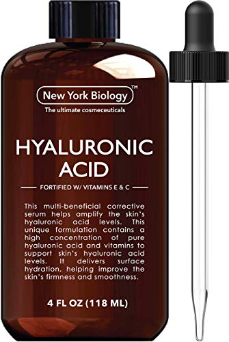 New York Biology Hyaluronic Acid Serum with Vitamins A and C - Professional Strength Anti Aging Face Serum Improves Skin Texture and Moisturizes Skin - Huge 4 oz