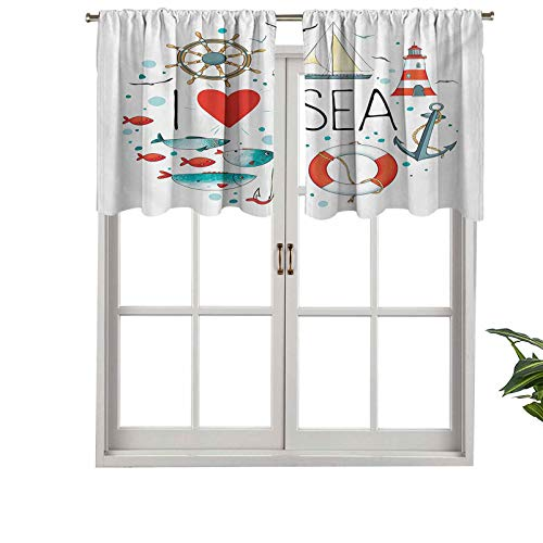 """Hiiiman Cortina corta con bolsillo para barra de cortina, diseño con texto en inglés """"I Love Sea Cote con corazón en el mar, 127 x 45 cm para baño y cocina"""