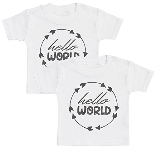 Hello World T-Shirts Bébé Jumeaux, Bébé Haut Jumeaux, Bébé garçon T-Shirts Jumeaux, Bébé Fille T-Shirts Jumeaux - 2-3 Ans Blanc