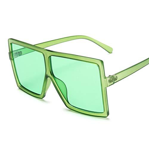 SCAYK Sombras de Gran tamaño Mujeres Gafas de Sol Moda Cuadrado Big Marco Vintage Retro Gafas Femenino Unisex Gafas de Sol Gafas de Ojos Moda Gafas de Sol para Mujeres (Lenses Color : C16 FullGreen)