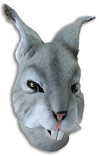 Fancy Me Erwachsene Damen Herren Rubber Das Gesicht Bedeckend Maske Animal Halloween Kostüm Kleid Outfit Zubehör - Grau Hase