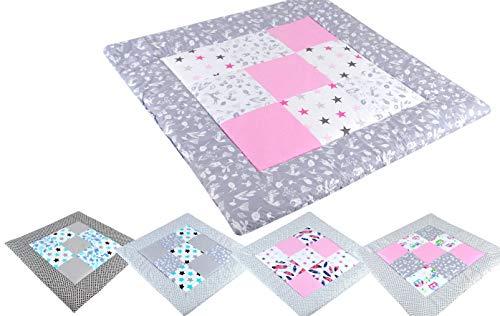BABYLUX Spieldecke Patchwork KRABBELDECKE 110 x 110 cm Kinderdecke Baby Decke (10. Animal grau - Sterne)