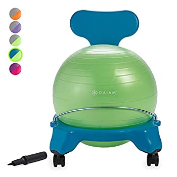 Gaiam Kids Balance Ball Chair - Classic Children s Stability Ball Chair Alternative School Classroom Flexible Desk Seating for Active Students with Satisfaction Guarantee Blue/Green
