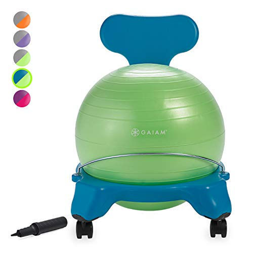 Gaiam Kids Balance Ball Chair - Classic Children's Stability Ball Chair, Alternative School Classroom Flexible Desk Seating for Active Students with Satisfaction Guarantee, Blue/Green
