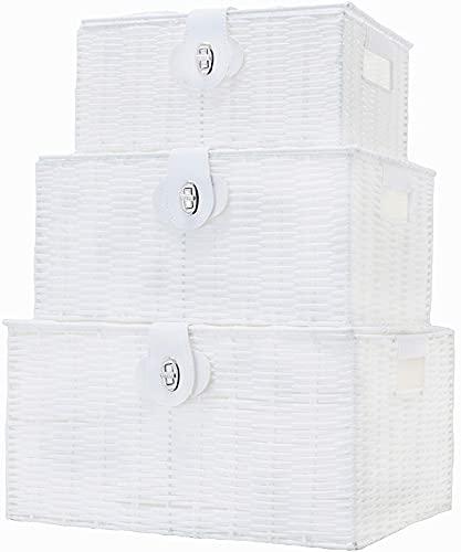 zxczxc Caja de Cesta de Almacenamiento Tejido de Resina de 3 Piezas con Tapa y Bloqueo, Gris, Grande, Mediano, pequeño, White