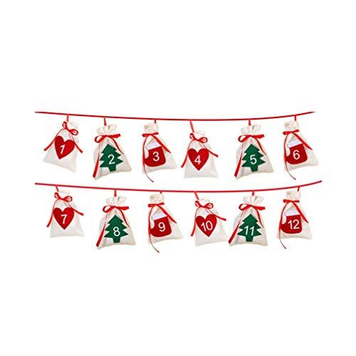 GARNECK - 12 Bolsas Colgantes para Calendario de Navidad, Calendario de adviento Creativo, Calendario de Regalo, Bolsas para la Fiesta de Navidad de Año Nuevo