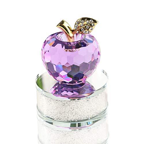 H&D 50mm Kristall Lila Apfel Figure Laser geschnitten glänzendDeco mit Golden Blatt, Klar Glas Sockel und Geschenkkasten