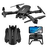 Xwenf R8 Drone avec caméra aérienne 4K HD, Pliant RC Drone pour Les débutants avec Un positionnement de Flux Optique Gesture Photo Video Photo Altitude Suivre Tenir, Noir