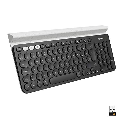 Logitech K780 Kabellose Tastatur, Bluetooth & 2.4 GHz Verbindung, Multi Device & Easy-Switch Feature, Integrierte Halterung, PC/Mac/Tablet/Smartphone, Englisches QWERTY-Layout - dunkelgrau/weiß