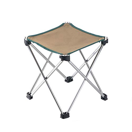 GJX Tumbonas Sillas De Camping Plegable Ligero La Pesca Taburete Pequeño Al Aire Libre Portátil Playa Mini Silla, 2 Colores, 2 Tallas (Color : Khaki, Size : M)