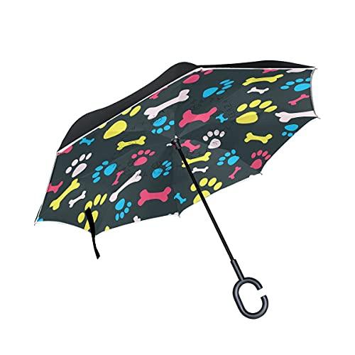 Paraguas plegables Hipster Cute Dog Paw and Bones Paraguas plegables inversos a prueba de viento UV con mango en forma de C