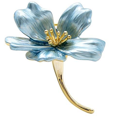 XYW Broche - Broche de Flores pequeñas de Las señoras, Broche de Cobre, Accesorios florecientes de Lirio vívido y Encantador for Combinar la Ropa (Metal Color : Blue)