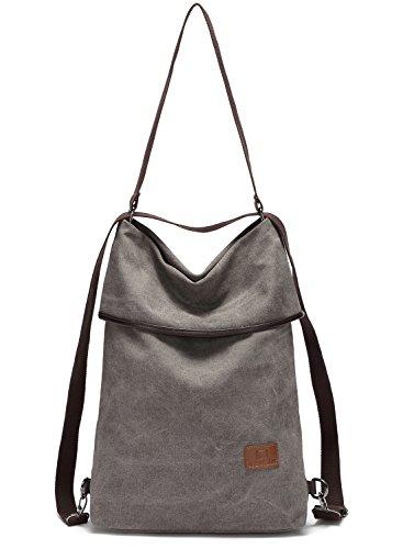 Travistar Damen Canvas Schultertasche Rucksack Groß Handtasche Vintage Damen Umhängentasche Anti Diebstahl Tasche Damen Hobo Tasche für Alltag Büro Schule Ausflug Einkauf-Grau