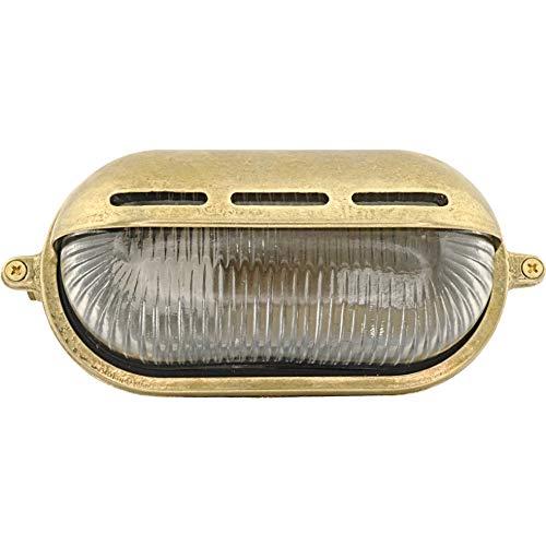 Brootzo Meso 10W Schiffslampe schiffsleuchten Gitterlampe Kellerlampe feuchtlamp aus massivem Messing wasserdichte Leuchter Licht lampe rustikale Maritim Wandlampe Industrielicht