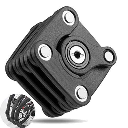 WZYJ Bike Cube Key Lock, Anti Theft Chain Folding Cycling Accessories - Multi-Function Alloy MTB Bicycle Lock with Key
