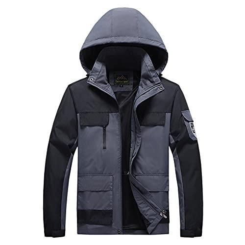 Xmiral Giacca Softshell Uomo Inverno Outdoor Traspiranti Giacca Trekking Cappotto uomo esterno colore giuntura cappello staccabile tasca con cerniera idrorepellente ( 3XL,2grigio scuro )