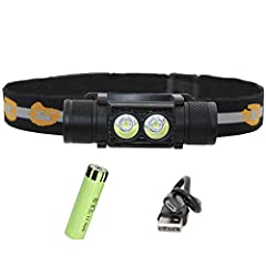 SUPER BRIGHT 18650 RECHARGEABLE HEADLAMP : Maximum output of 1600 lumens LED provides bright light up to 150ft/ 45m HUMANIZED DESIGN: Can be rotated at 180 degree up and down, its 4.45oz weight is not heavy burden for you head, together with the elas...