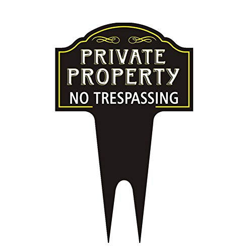 GBATERI Private Property No Trespassing Sign with Stake - 15' x 9.5' No Trespassing Signs Private Property Signs Outdoor Metal Yard Sign,for Property Home Yard Business,Safety Privacy Warning Sign