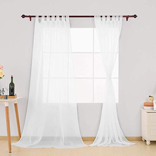 Deconovo Schlaufenschal Transparent Vorhang Gardinen Voile 245x140 cm Weiß 2er Set, Stoff, 245x140