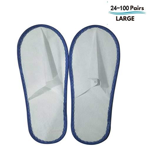 24/50/100 Pairs Pantoufles Hotel Spa Pantoufles Fermées Toe Family Adulte Hommes Et Femmes Blancs (Color : Blue, Edition : 24 Pairs)