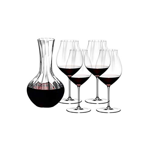 Goblets Red Wine Glasses Large Clear Wine Glasses Set of 4 with A Decanter Wine Cup Premium Crystal for Wedding Anniversary Stemware (Color : B)