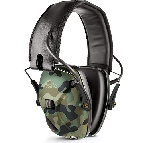 awesafe Electronic Shooting Earmuff, GF01 Noise Reduction Sound Amplification Electronic Safety Ear Muffs, Ear Protection, NRR 22 dB, Ideal for Shooting and Hunting, Camo