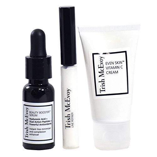 Trish McEvoy Power of Skincare Trio - Travel Size Beauty Skin Care Mini Gift Set for Women:: Vitamin C Cream, Beauty Booster Facial Serum, Line Refiner
