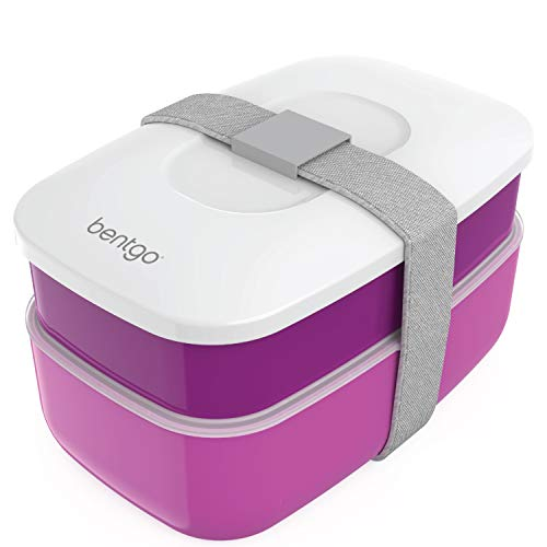 Bentgo Classic - All-in-One Stackable Bento Lunch Box Container - Sleek and Modern Bento-Style Design Includes 2 Stackable Containers, Built-in Plastic Utensil Set, and Nylon Sealing Strap (Purple)