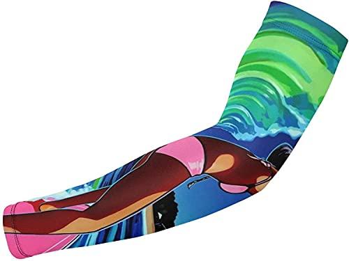 Mangas para brazo de refrigeración con protección UV, 1 par de mangas de compresión para ciclismo, correr, baloncesto, fútbol, surf y arte tropical