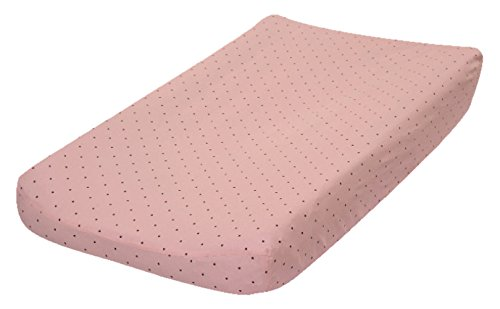 Go Mama Go Pink with Chocolate Polka Dots Changing Pad Cover, Pink/Brown