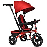 INFANS Kids Tricycle, 4 in 1 Stroll Trike with Adjustable Push Handle, Removable Canopy, Retractable Foot Plate, Lockable Pedal, Detachable Guardrail, Suitable for 10 Months to 5 Years (Red)