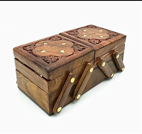 Crafting with Love A Beautiful SHEESHAM - Joyero de madera tallada a mano, material: madera, tamaño: 30 x 10 x 8 cm aprox