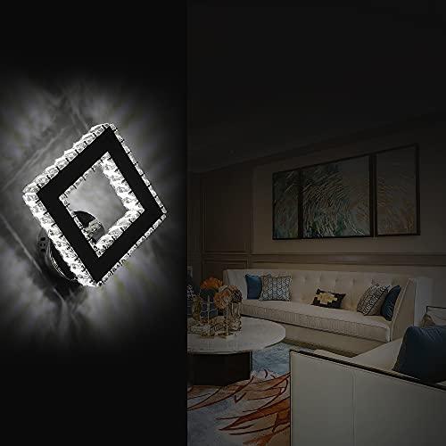 AUA LED Lampada da Parete, Applique Cristallo Lampada da Parete Interno Piazza 16W, per Camera da Letto, Soggiorno (Luce Fredda 6000k)