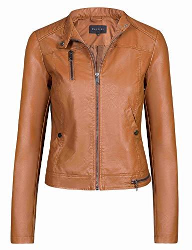 Fahsyee Women's Faux Leather Jackets, Zip Up Motorcycle Short PU Moto Biker Outwear Fitted Slim Coat Brown Size XL