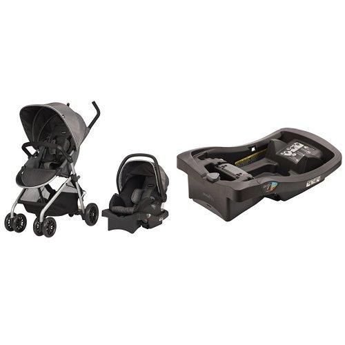 Evenflo Sibby Travel System, Highline Gray with LiteMax Infant Car Seat Base, Black