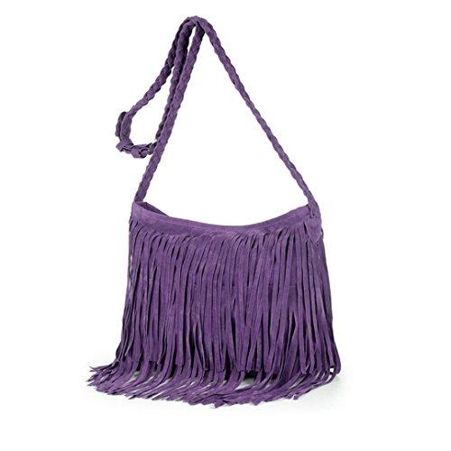 Heidi Hobo Hippie Fringe Tassel Faux Suede Shoulder Messenger Cross Body Womens Sling Bag (purple)