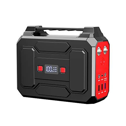 Powkey Tragbare Powerstation 99Wh/27000mAh 100W Solar Generatoren mit AC/USB/DC Ausgabe, Eingebauter LED-Licht, für die Reise, Camping, das Wohnmobil und Notfall.
