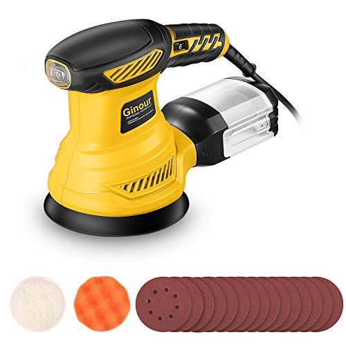 Ginour 6Max Variable Speed Random Orbital Sander 5inch Sander with 10Pcs Sandpapers Sponge Disc and Wool Disc Efficient Dust Collection System Ideal for Sanding Finishing Polishing Wood
