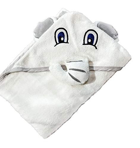 Baby Cat Hooded Elephant Baby Towel Large 35x35″ | Delicate & Soft Organic Hypoallergenic Robe| Washcloth | Absorbent & Moisture Wicking Bamboo for Babies, Toddlers, Boys & Girls