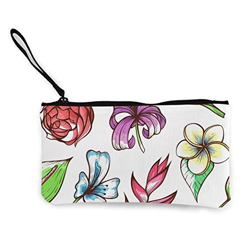 Moneda de lona, flores tropicales dibujadas a mano, bolsa de cosméticos con cremallera, bolsa de maquillaje multifunción para teléfono móvil, bolsa de lápiz con asa