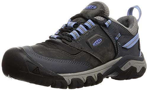 KEEN Women's Ridge Flex Low Height Waterproof Hiking Shoe, Steel Grey/Hydrangea, 6