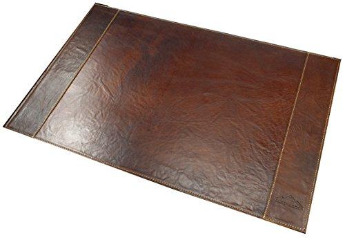 """Alpenleder Schreibtischunterlage """"TIROL"""" echtes Büffel-Leder, Tischunterlage Braun, XXL Desk Pad mit Dokumentenfach, Schreibunterlage, Schreibtischmatte 68 cm x 44 cm x 1 cm"""
