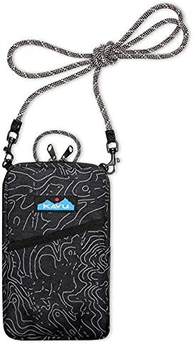 KAVU Essential Case Zip Crossbody Wallet with Rope Strap - Black Topo