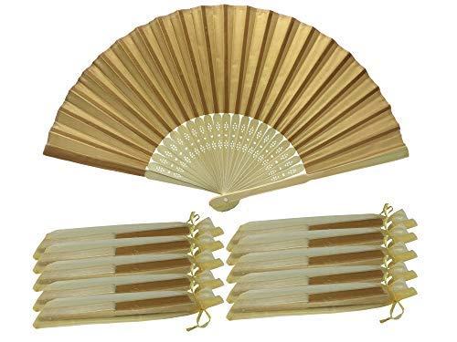 Rangebow SHF18 Dunkelgelb, dunkles Gold Pack von 10 Großhandel Silk Fabric Hand Fan Bambus Rippen Hochzeitsfeier