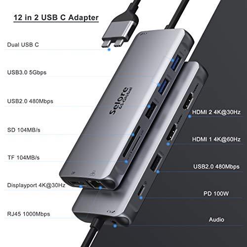 Selore Docking Station 12 in 2 USB C Adapter für MacBook Pro 2016-2020/MacBook Air 2018-2020 USB C Hub auf Dual 4K HDMI, Displayport, 2 USB 3.0 & 2.0, 100W PD, 1000M LAN, SD/TF Kartenleser, Audio&Mic