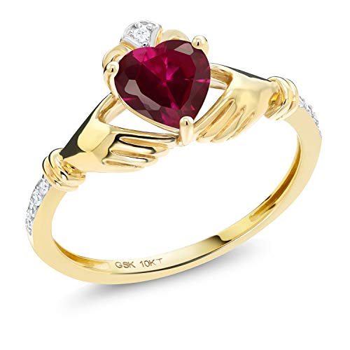 Gem Stone King 10K Yellow Gold Red Created Ruby and Diamond Accent Heart Shape Irish Celtic Claddagh Women Engagement Ring (1.02 Cttw) (Size 9)